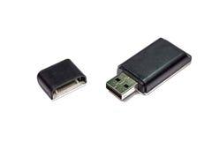 在白色隔绝的USB多卡片阅读机 免版税库存照片