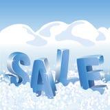 在白色雪的冬天销售蓝色标记 库存图片