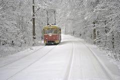 在白色雪的红色电车 库存照片