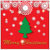 在白色雪花下的圣诞节 免版税库存照片