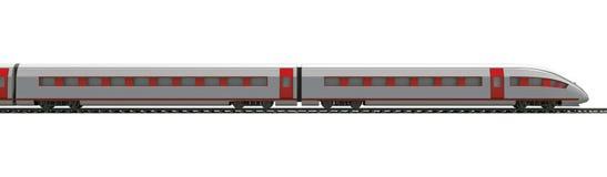 在白色,侧视图的长的火车 图库摄影