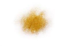 在白色,抽象背景的金黄闪烁沙子纹理 图库摄影