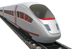 在白色,特写镜头视图的火车 免版税库存图片
