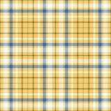 在白色,蓝色&棕色斜纹布条纹的无缝的格子花样式在金黄沙子染黄undercheck背景 免版税库存照片