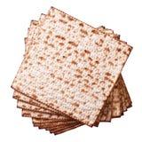 在白色,顶视图隔绝的堆犹太未发酵的面包小面包干 图库摄影