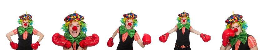 在白色以各种各样的姿势隔绝的小丑 免版税库存图片