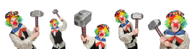 在白色以各种各样的姿势隔绝的小丑 免版税图库摄影