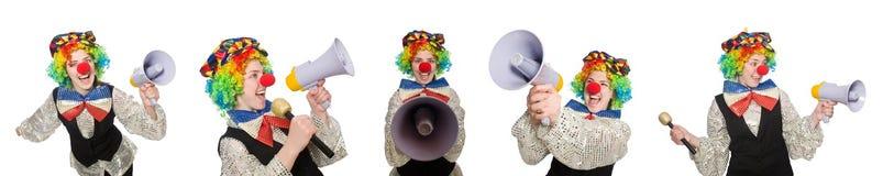 在白色以各种各样的姿势隔绝的小丑 库存照片