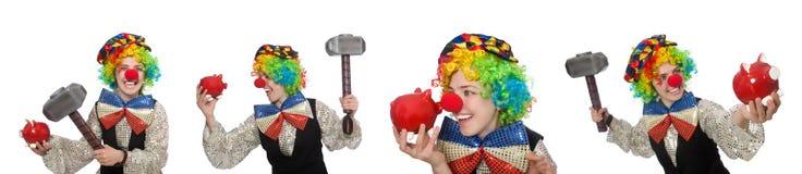 在白色以各种各样的姿势隔绝的小丑 免版税库存照片