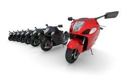 在白色-查出的红色摩托车 免版税图库摄影