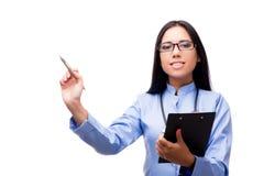 在白色医疗概念的年轻女性医生隔绝的 库存例证