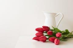 在白色水罐旁边的红色郁金香 免版税图库摄影