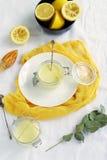 在白色黄色背景的柠檬酱可口和健康点心 顶视图 平的位置 免版税库存图片