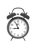 在白色(闹钟)隔绝的黑响铃时钟 免版税库存图片