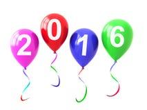在白色2016隔绝的五颜六色的气球年 库存图片