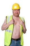 在白色-隔绝的安全帽的建筑工人 免版税库存照片