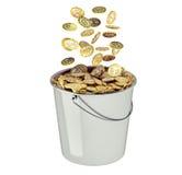 在白色-隔绝的桶的Bitcoins 图库摄影