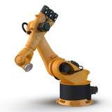 在白色3D例证产业的机器人胳膊隔绝的 库存图片