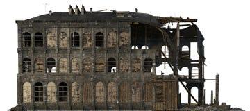 在白色3D例证隔绝的被破坏的大厦 免版税库存照片