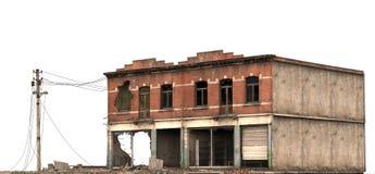在白色3D例证隔绝的被破坏的大厦 免版税库存图片