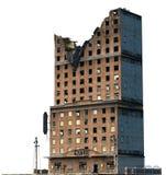 在白色3D例证隔绝的被破坏的大厦 免版税图库摄影