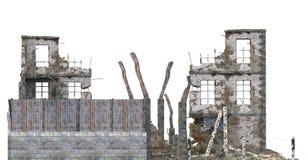 在白色3D例证隔绝的被破坏的大厦 库存照片