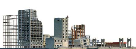 在白色3D例证隔绝的被破坏的大厦 库存图片