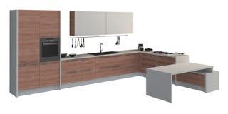 在白色3D例证隔绝的厨房家具 图库摄影