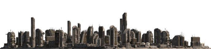 在白色3D例证隔绝的未来都市风景 免版税库存图片