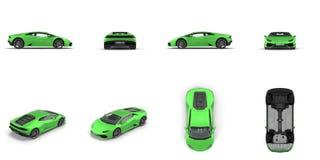 在白色3D例证隔绝的豪华绿色跑车 库存图片