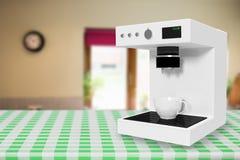 在白色3d的咖啡壶机器的综合图象 库存照片