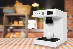 在白色3d的咖啡壶机器的综合图象 图库摄影
