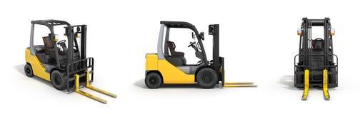 在白色3D隔绝的铲车装载者回报 向量例证