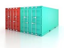 在白色b的明亮的红色和蓝色金属货物运输货柜 图库摄影