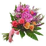 在白色ba和兰花隔绝的百花香玫瑰、百合 免版税库存图片