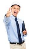 在白色ba隔绝的愉快的年轻商人建筑师赞许 免版税图库摄影