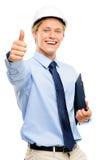 在白色ba隔绝的愉快的年轻商人建筑师赞许 免版税库存图片
