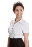 在白色backg或学徒隔绝的骄傲的俏丽的女实业家 库存照片