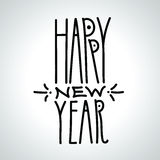 在白色backg的新年快乐手拉的黑线性题字 皇族释放例证