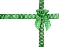 在白色backgr隔绝的发光的丝带绿色(弓)讥诮框架盒 免版税库存图片