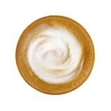 在白色backgr隔绝的热的咖啡拿铁热奶咖啡顶视图  图库摄影