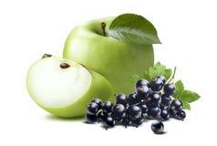 在白色backgr 2隔绝的绿色苹果黑醋栗构成 免版税库存图片