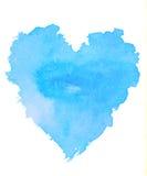 在白色backgro的概略的蓝色心脏形状水彩例证 库存图片