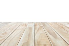 在白色backgroun或柜台隔绝的空的上面木桌 库存照片