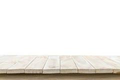 在白色backgroun或柜台隔绝的空的上面木桌 免版税库存图片