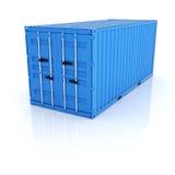 在白色backgroun的明亮的蓝色金属货物运输货柜 免版税图库摄影