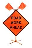 在白色backgroun隔绝的前面道路工程-美国路标 库存图片