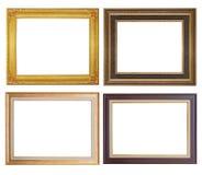 在白色backgroun隔绝的套金黄框架和木头葡萄酒 图库摄影
