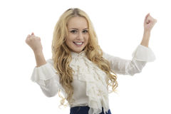 在白色backgroun隔绝的美丽的愉快的年轻女商人 库存图片