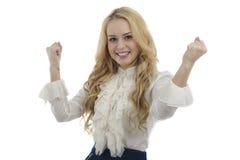在白色backgroun隔绝的美丽的愉快的年轻女商人 库存照片